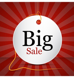 Big sale label sticker with string on dark red vector