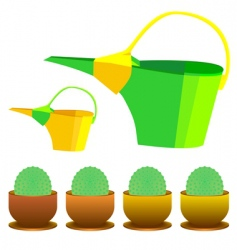 cactus and watering can vector image vector image
