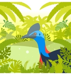 Cassowary on the jungle background vector