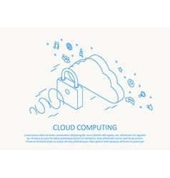 Cloud computing isometric thin line design vector