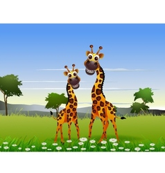 cute couple giraffe cartoon with landscape backgro vector image