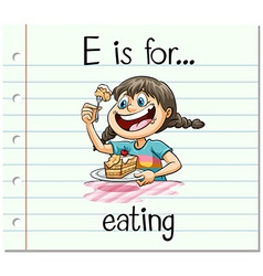 Flashcard letter E is for eating vector image