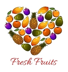Fruits heart shape fresh fruits icons vector