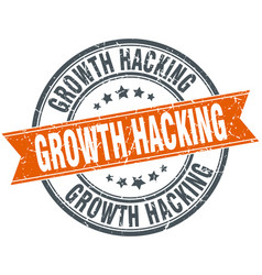 Growth hacking round grunge ribbon stamp vector