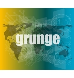 Grunge words on digital touch screen interface vector