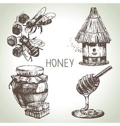 Hand drawn vintage honey set vector