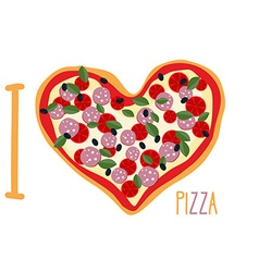 I love pizza Heart symbol in form of pizza Italian vector image