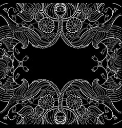 Linear abstract flourish frame at black vector