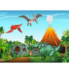 Many dinosaurs in the field vector image vector image