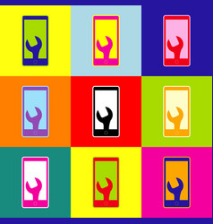 Phone icon with settings pop-art style vector