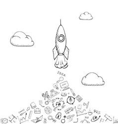 Rocket is flying vector image