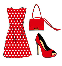 romantic red polka dots dress shoe and handbag vector image