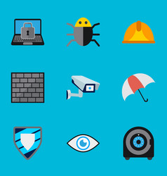 Set of 9 editable safety icons includes symbols vector