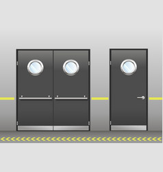 Set of technical doors with portholes vector
