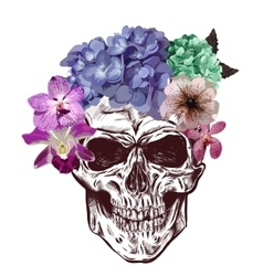 Skull and flowers sketch with gradation effect vector
