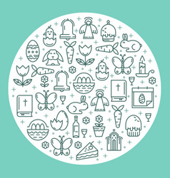 Symbols of easter in the shape of a circle vector