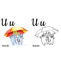 Umbrella alphabet letter u coloring page vector