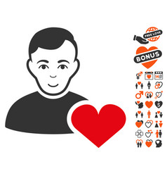 User favourites heart icon with lovely bonus vector