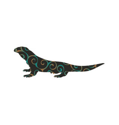 Varan lizard reptile color silhouette animal vector