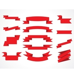 ribbons red set vector image
