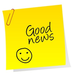 Sheet of paper with good news text vector
