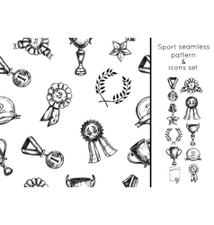 Sketch sport win seamless pattern and icon set vector