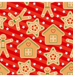 Seamless pattern with gingerbread in flat vector