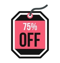 Sale tag 75 percent off icon flat style vector
