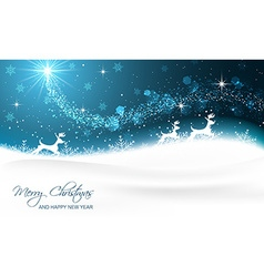 Christmas card with reindeer snowflakes glitter vector
