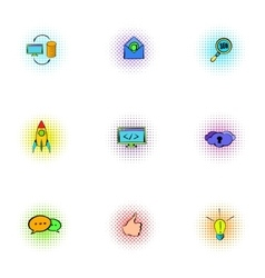SEO optimization icons set pop-art style vector image