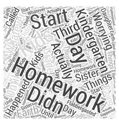 Kindergarten homework word cloud concept vector