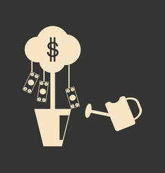 flat in black and white money tree vector image