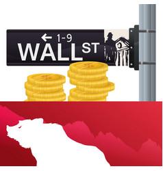 wall street bear city investing vector image