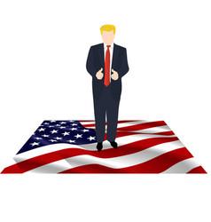 President of america on the flag vector