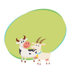 Farm black spotted cow looking at white smiling vector