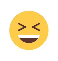 yellow smiling cartoon face laughing emoji people vector image