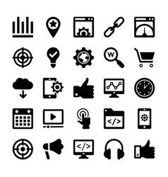 Seo and digital marketing glyph icons 3 vector