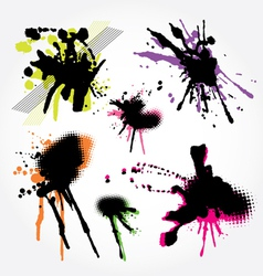 Set of grunge splashes colorful vector