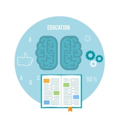 Book with brain education concept vector