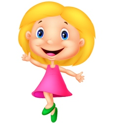 Happy little girl cartoon vector