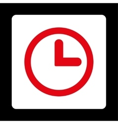 Clock flat red and white colors rounded button vector