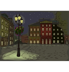 Antique european street night summer city landscap vector