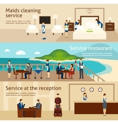 Hotel staff banner set vector