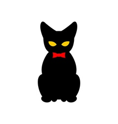 Black cat with red bow tie silhouette of pet vector