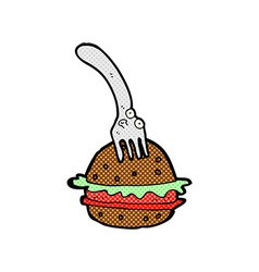 Comic cartoon fork and burger vector