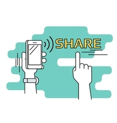 People sharing data and mobile apps via smartphone vector