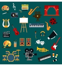 Art music cinema and theater icons vector