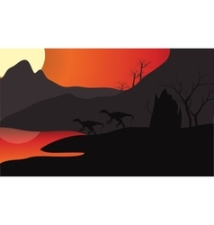 At sunset eoraptor silhouette in lake vector