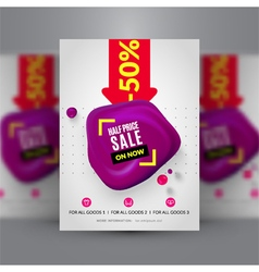 Flyer template for half price sale vector