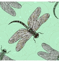 Seamless pattern with dragonfly on a green vector image